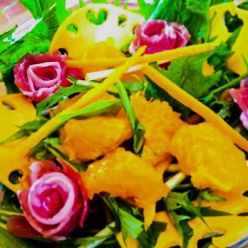 生ハムと水菜のオレンジサラダ